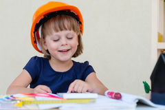 Little girl playing architect Stock Photography