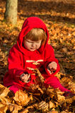 Little girl playing in autumn Stock Image