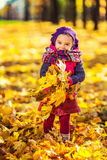 Little girl playing with autumn leaves Stock Photography