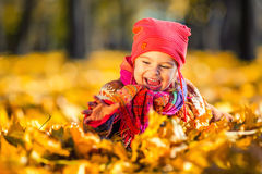 Little girl playing with autumn leaves Royalty Free Stock Photography