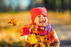 Little girl playing with autumn leaves Royalty Free Stock Image