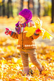 Little girl playing with autumn leaves Royalty Free Stock Images