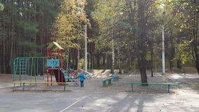 Little girl playing in autumn Park on Sunny day, carefree childhood stock footage