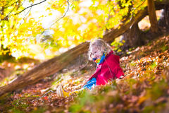Little girl playing in autumn park Stock Image