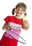 Little girl playing badminton Royalty Free Stock Photos