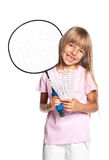 Little girl playing badminton Royalty Free Stock Photo