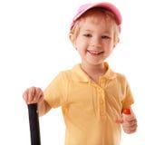 Little girl playing badminton Royalty Free Stock Photos