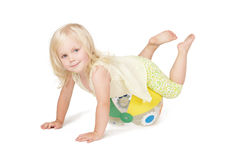 Little girl playing with ball royalty free stock image