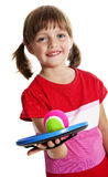 Little girl playing with a ball Stock Images