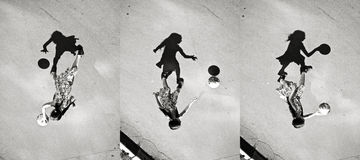 Little girl playing ball shadow, set of pictures Stock Photography