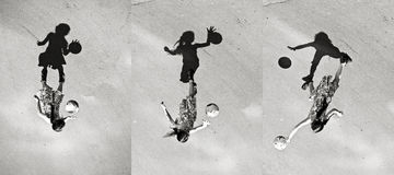 Little girl playing ball shadow, set of pictures Stock Image