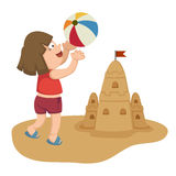 Little girl playing on beach with ball Royalty Free Stock Images
