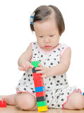 Little girl playing blocks Royalty Free Stock Images