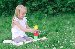 Little girl playing blocks Royalty Free Stock Image
