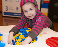 Little girl playing building blocks Royalty Free Stock Photo