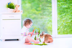 Little girl playing with a bunny Royalty Free Stock Photo