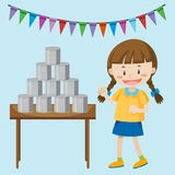 Little girl playing cans at the fair. Illustration Stock Photo