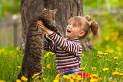 Little girl playing with a cat Stock Photos