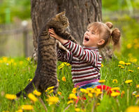 Little girl playing with a cat in the park. Stock Image