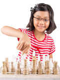 Little Girl Playing Chess IX Royalty Free Stock Photo