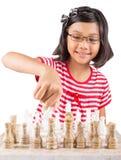 Little Girl Playing Chess IX Royalty Free Stock Photo