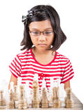 Little Girl Playing Chess X Stock Images