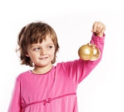 Little girl playing with  Christmas balls Stock Photo