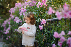 Little girl playing in a city park in autumn Stock Photography