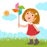 Little girl playing with a colorful windmill toy stock illustration