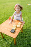 Little Girl Playing with Colorful Wooden Blocks Stock Photo