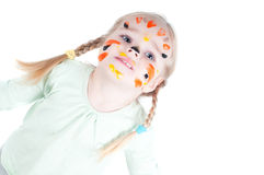 Little girl playing with colors Stock Images