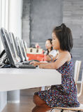 Little girl playing computer royalty free stock images
