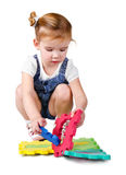 Little girl playing with construction blocks Royalty Free Stock Image