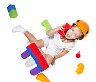 Little girl   playing with constructor Stock Images