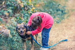 Little girl playing with the dog in the forest royalty free stock image