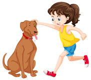 Little girl playing with dog pet. Illustration Royalty Free Stock Photography