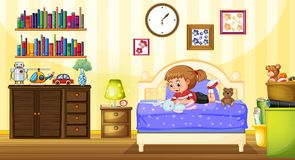 Little girl playing with doll in bedroom Stock Image