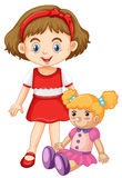 Little girl playing with doll. Illustration Royalty Free Stock Photos