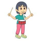 Little girl playing drum cartoon Royalty Free Stock Image