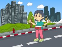 Little girl playing drums in the street Cartoon Royalty Free Stock Photos