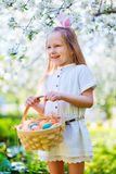 Little girl playing with Easter eggs Royalty Free Stock Photography