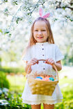 Little girl playing with Easter eggs Stock Photography