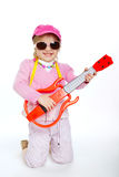 Little girl playing electric guitar hardcore Stock Photography