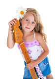 Little girl playing electric guitar Royalty Free Stock Photography