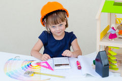 Little girl playing engineer Royalty Free Stock Photo