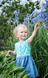 Little girl is playing with flowers. Royalty Free Stock Images