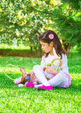 Little girl playing game Stock Photo