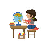 Little Girl Playing With Globe Royalty Free Stock Photography