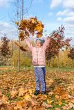 Little girl playing with golden leaves in beautiful autumn park stock image