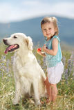 The little girl is playing on the grass with a dog Royalty Free Stock Image